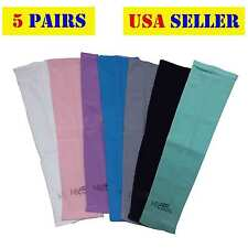 5 Pairs - New Cooling Arm Sleeves Sun Protective UV Cover Bike Golf Driving