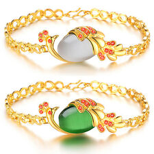 Fashion Women Copper Plated 18k Yellow Gold Crystal Peacock Green Agate Bracelet