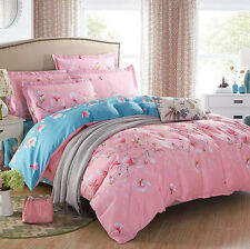 4PCS Set Pure Cotton Cute Flower King Size Bed Duvet Cover Bedsheet Pillowcase