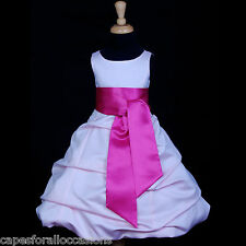 PINK FUCHSIA TODDLER PAGEANT WEDDING FLOWER GIRL DRESS 2 3T 4 5T 6 8 10 12 14 16