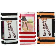 Ladies Thigh High/ Over Knee Striped Hold Up Stockings Fancy Dress Accessory