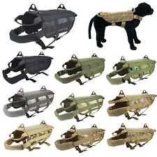 Police K9 Tactical Military Molle Dog Harness Training Velcro Vest XS S M L XL