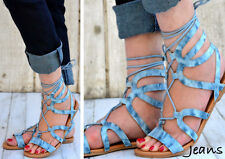 New! Women Gladiator Strappy Flat Ankle Sandal Open Toe Shoes Blue jeans denim
