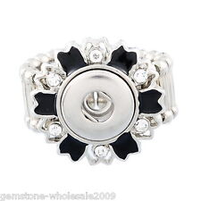 Wholesale Lots Mini Snap Button Stretch Ring Rhinestone size 7.5 Enamel 17.7mm