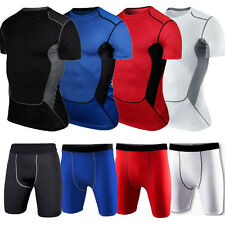 Men's Sports Compression Base Layer Armour Top T-Shirt Shorts Pants Under Skins