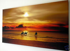 SUNSET  BEACH HORSE SCENE WALL ART CANVAS PICTURE LARGE 18