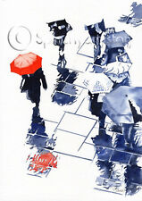 RED BROLLY & REFLECTIONS ART PRINT painting SCOTLAND Umbrella Splashyartystory