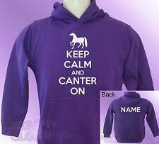 Purple Hoodie KEEP CALM and CANTER ON horse ride riding PERSONALISED with name