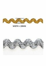 METALLIC GOLD/SILVER 20MM JUMBO RIC RAC TRIM AVAILABLE IN 1M - 5M AND 10 METRES