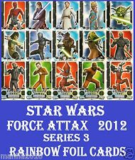 Choose STAR WARS FORCE ATTAX 2012 Force Master Series 3 Topps RAINBOW FOIL Cards