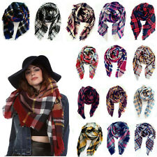 Lady Blanket Oversized Tartan Checked Scarf Wrap Shawl Women Plaid Cozy Pashmina