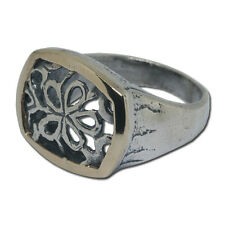 Ring two tone silver 14k yellow gold flowers size 6 - 9