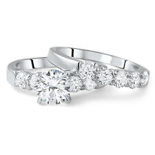 2 CTW Sterling Silver AAA CZ Engagement Ring Wedding Band Set