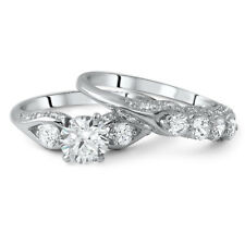 1.15 CTW Silver Fancy 3 Stone CZ Wedding Band Engagement Ring Set