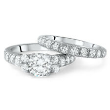 Sterling Silver Cubic Zirconia Wedding Band Engagement Ring Set