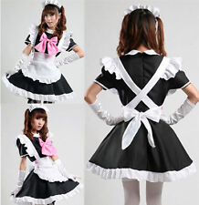 Womens Cute Knot French Servant Maid Cosplay Sexy Fancy Dress Halloween Costumes