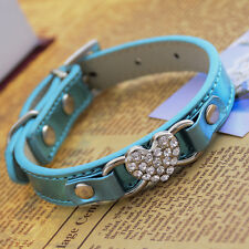 Leather Dog Collar Rhinestone Heart Shaped Charm For Collar Necklace Small Teddy