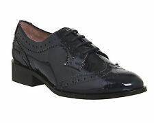 Womens Office Panther Brogue Lace Up NAVY PATENT Flats