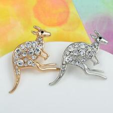 Rhinestone Kangaroo Brooch Silver Gold Plated Animal Pin Women Fashion Jewelry