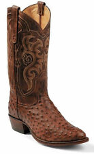 MEN'S TONY LAMA VINTAGE CHOCOLATE FULL QUILL OSTRICH WESTERN BOOTS 8965