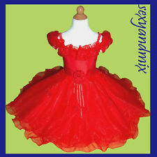 UKMD08 Red Baby Christmas Gift Party Pageant Girls Dress 1,2,3,4,5,6,7,8,9Yrs