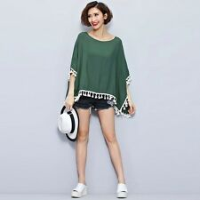 New Fashion Women Tassels Batwing Casual Loose Solid Summer Beach Blouse Tops