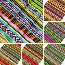 INDIAN TRIBES AFRICAN FOLK ETHNIC TRIBAL ZIG ZAG STRIPE Cotton Fabric VK29 by FQ