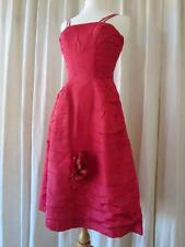 Beautiful Vintage 1950's Coral Red Rouched Prom Dress- Corsage