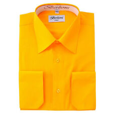 BERLIONI MEN'S CONVERTIBLE CUFF SOLID ITALIAN FRENCH DRESS SHIRT GOLD