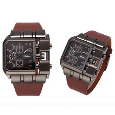 Oulm 3364 Male Quartz Watch Japan Movt Square Dial Leather Band Watch