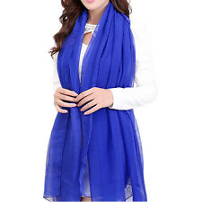 5X(Royal Blue Trendy Summer Care Solid Color Scarf Shawl For Women) L3