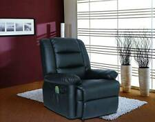 Luxury Recliner Massage Lounger Sofa Arm Chair Real Leather Gaming Cinema Black