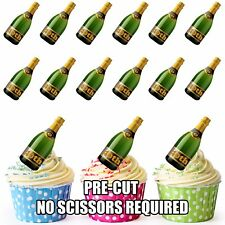 PRE-CUT 40th Birthday Champagne Bottle Edible Cup Cake Toppers Cake Decorations