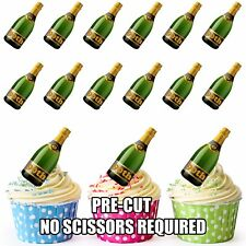 PRE-CUT 90th Birthday Champagne Bottle Edible Cup Cake Toppers Cake Decorations