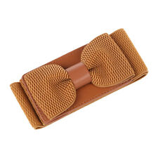 Women's Wide Elastic Stretch Bowknot Bow Tie Belt Waistband (Brown) L3