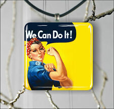 ROSIE THE RIVETER WE CAN DO IT PENDANT NECKLACE EARRINGS -b3r5