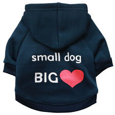 Dog Hoodies Cotton blend Warm Clothes White Small dog Red heart printing winter