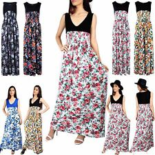 New Womens Ladies Floral Print V Neck Stretchy Long Party Maxi Dress Plus Size