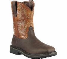 Mens Ariat® Sierra Wide Square Toe Leather Western Work Boots Steel-Toe Size