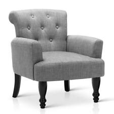 Wing Armchair French Provincial Linen Fabric in Grey, Taupe