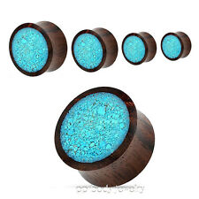 "PAIR 2G to 1"" Sono Wood with Crushed Turquoise Center Saddle Ear Plugs"