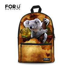 Women Animal Koala Dog Backpack Girls Kids Canvas School Shoulder Book Bag