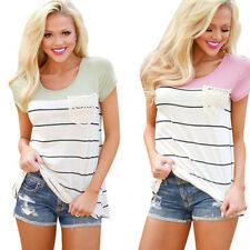 Casual Women Girl Summer V-neck Short Sleeve Stripe Cotton blend Blouse T Shirt