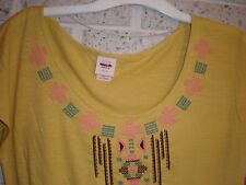 Mossimo Mustard Yellow cap sleeve cotton blend top/blouse embroidery M ,L