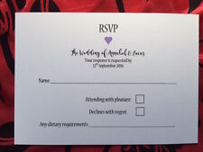 RSVP Wedding Cards A6 x 50 Personalised heart design dietary included