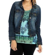 New One World Denim Jacket with Printed Knit 3/4 Sleeved Sharkbite Top