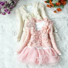 2pcs Girl Baby Toddler Flower Jacket+Tutu Top Dress Skirt Xmas Party Outfit 3T-6