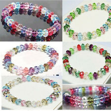 Lady Girl Fashion Crystal Faceted Loose beads Bracelet Stretch Bangle New