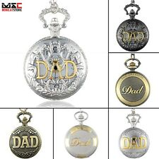 Vintage DAD Fathers Day Hollow Pocket Watch Necklace Quartz Chain Pendant Gift