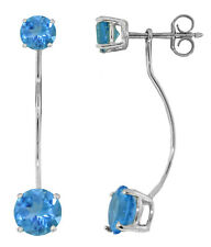 4.3 CTW 14K Solid White Gold Stud Drops Earrings Natural Blue Topaz
